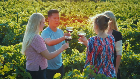Multi-Ethnic-Group-Of-Friends-Tasting-Wine-In-The-Vineyard-Tourism-And-Wine-Tasting-Concept