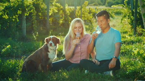 A-Young-Multiethnic-Couple-Sits-Near-A-Vineyard-Tasting-Wine-Next-To-Them-Is-Their-Dog-Travel-And-Wi