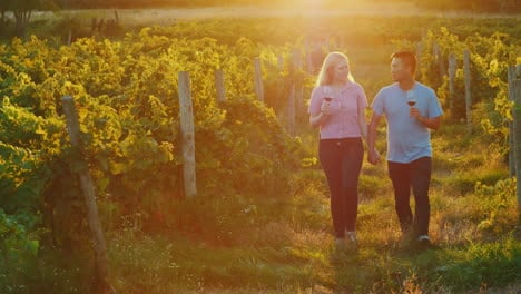 Happy-Multiethnic-Couple-Walking-In-The-Vineyard-Wine-Tasting-And-Tourism-Concept-4k-Video