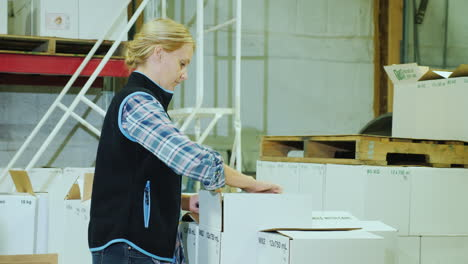 A-Woman-With-A-Tablet-Holds-Inventory-In-A-Warehouse