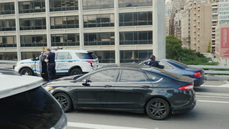 Traffic-Accident-Involving-A-Police-Car-Another-Car-Crashed-Into-The-Parked-Cars-And-The-Airbag-Was-