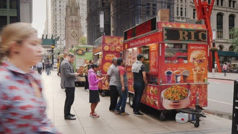 Line-Of-People-Standing-Behind-Street-Food-Business-People-And-Tourists-Want-To-Buy-Fast-Food