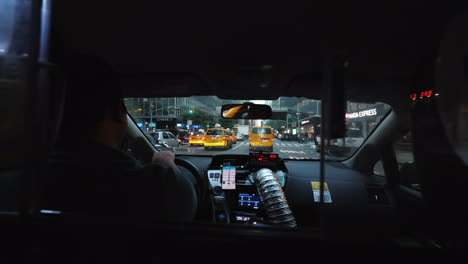 View-From-The-Passenger-Seat-Of-The-Famous-Yellow-Taxi-In-New-York