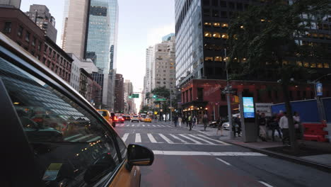 View-From-The-Window-Of-The-New-York-Taxi-Driving-Through-The-Center-Of-Manhattan