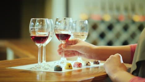 Wine-Tasting-And-Various-Candies-Wine-Tour-Concept