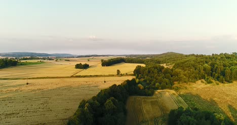 Aerial-View-Sunrise-Sunset-Over-Of-Forest
