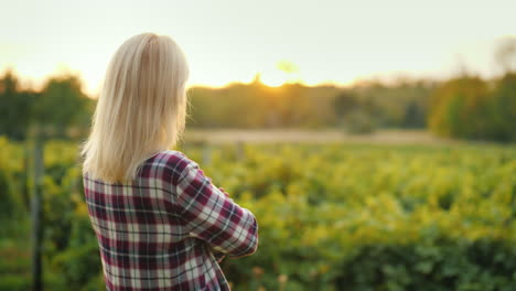 A-Woman-Farmer-Is-Looking-Forward-To-His-Vineyard-The-Owner-Of-The-Farm-Business-Back-View