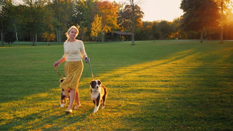 Autumn-Walk-In-The-Park-With-Two-Pets-Woman-Walking-Her-Dogs