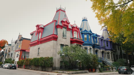 Colorful-Victorian-Houses-In-Square-Saint-Louis---Montreal-Quebec-Canada-Beautiful-Multi-Colored-Roo