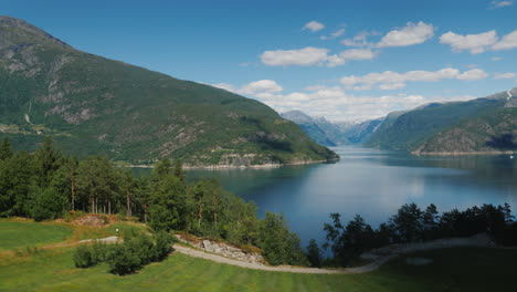 Travel-Across-Norway---A-View-Of-The-Picturesque-Fjord-From-A-Car-Window