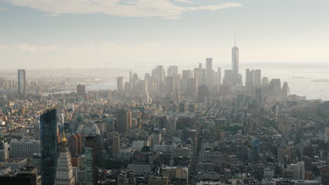 Morning-Over-Manhattan---View-From-Above-On-The-Business-District-Of-New-York
