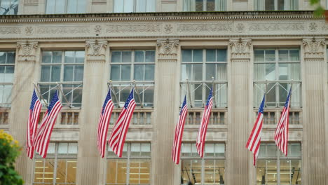 A-Row-Of-American-Flags-On-The-Facade-Of-The-Administrative-Building-In-New-York