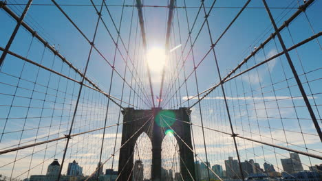 The-Sun-Over-The-Brooklyn-Bridge-One-Of-The-Symbols-Of-New-York-Steadicam-Shot