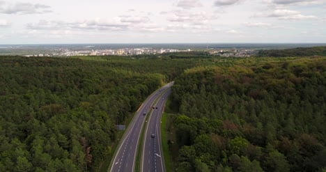 Highway-View-From-Drone-And-Panorama-Of-The-City