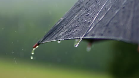 Close-Up-Of-Raindrops-Falling-On-Umbrella