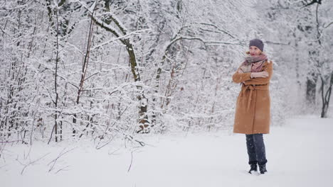 A-Woman-Stands-In-A-Winter-Park-Admiring-The-Snow-4k-Video