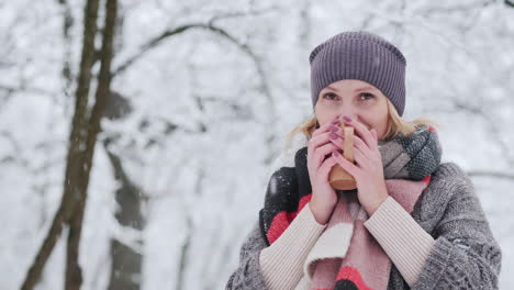 A-Woman-Drinks-Hot-Tea-In-The-Winter-Forest-Is-Dressed-In-A-Sweater-And-A-Bright-Scarf