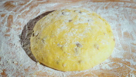 The-Dough-Is-Rising-Dough-With-Raisins-For-Homemade-Baking