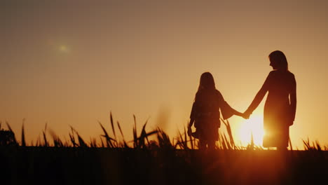 Silhouettes-In-Full-Growth-Of-Mother-And-Daughter-They-Stand-In-A-Picturesque-Place-At-Sunset-Happy-