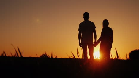 Silhouettes-Of-A-Romantic-Young-Couple-Holding-Hands-Standing-In-A-Picturesque-Place-And-Admiring-Th