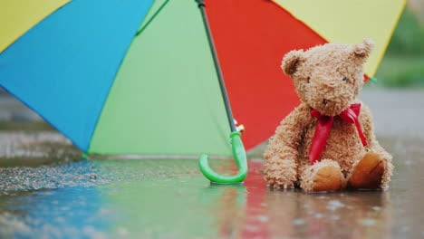 Lonely-Teddy-Bear-Sits-In-A-Puddle-In-The-Rain-4K-Video
