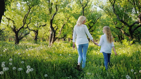 Mom-And-Daughter-Are-Walking-In-The-Apple-Garden-Enjoying-The-Warm-Spring-Day-4K-Video