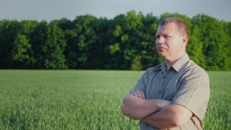 Middle-Aged-Self-Confident-Farmer-Examines-His-Field-The-Owner-Of-A-Small-Business-Concept-4K-Video