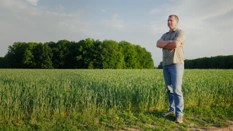 Middle-Aged-Self-Confident-Farmer-Examines-His-Field-Full-Length-Person-The-Owner-Of-A-Small-Busines