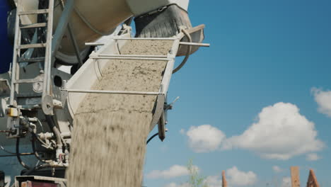 The-Concrete-Is-Unloaded-From-The-Concrete-Mixer-Against-The-Blue-Sky-Construction-Of-Country-Houses