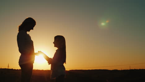 Mom-And-Daughter-Hold-Hands-Look-At-Each-Other-Silhouettes-At-Sunset-4K-Video
