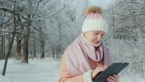 A-Woman-In-A-Pink-Jacket-Enjoys-A-Walk-In-A-Winter-Park-Uses-A-Digital-Tablet