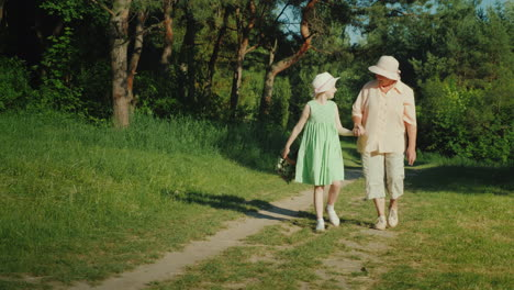 Grandmother-Is-Walking-With-Her-Granddaughter-In-The-Forest-Holding-Hands-The-Girl-Carries-A-Basket