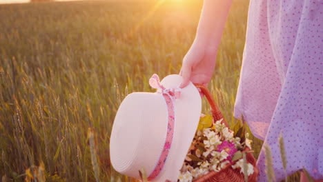 A-Woman-Carries-A-Basket-In-Field-Flowers-And-A-Hat-Over-A-Green-Field-4K-Video