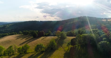 Aerial-of-Beautiful-Green-Forest-In-A-Rural-Landscape