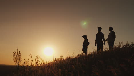 Silhouettes-Of-A-Happy-Family-Together-They-Meet-The-Dawn-In-A-Picturesque-Place-4K-Video