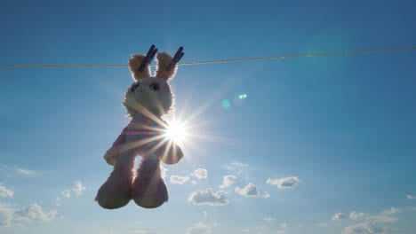 Plush-Rabbit-Hanging-On-A-Rope-Dried-In-The-Sun-4K-Video