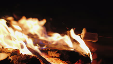 Fry-Marshmallow-Over-A-Fire-Close-Up-In-The-Frame-You-Can-See-Only-Sticks-With-Marshmallows