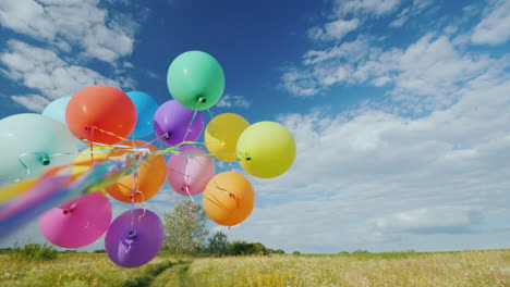 The-Wind-Plays-With-A-Group-Of-Balloons-Against-A-Beautiful-Green-Meadow