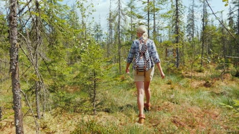 A-Woman-Walks-Through-The-Marshland-In-The-Forest-Back-View-Dangerous-Trek-And-Get-Lost-Concept