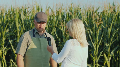 A-Journalist-Interviews-A-Successful-Farmer-Stand-In-The-Background-Of-A-Field-Of-Corn