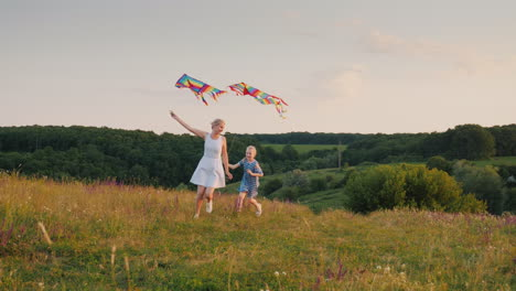 A-Woman-Plays-With-Her-Daughter---Running-Around-In-A-Circle-With-An-Air-Kite-The-Girl-Is-Cheerfully