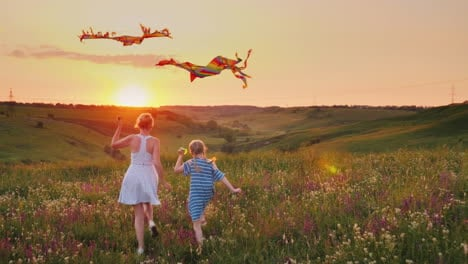 Mom-And-Daughter-Together-Launch-Kites-In-A-Picturesque-Place-At-Sunset-Happy-Family-Concept-4K-Slow