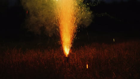 Fireworks-On-The-Dry-Grass-Dangerous-Behavior-And-Cause-Of-Fire