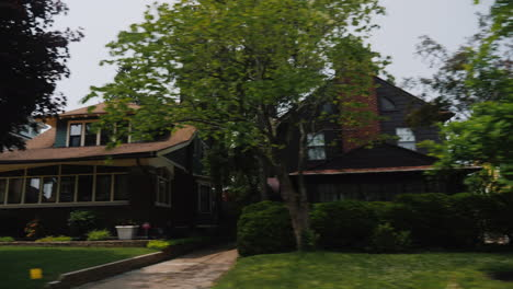 A-Trip-Through-America-Along-A-Typical-Neighborhood-With-Wooden-Houses