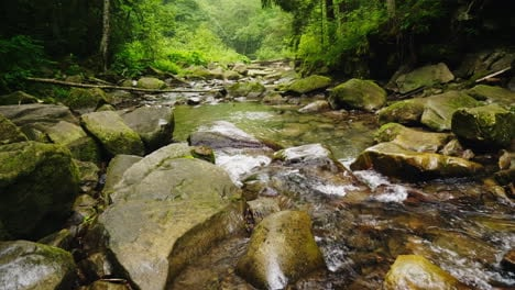 A-Beautiful-Mountain-River-Or-Stream-Flows-Through-The-Forest-The-Water-Boils-On-Large-Stones-Ecolog