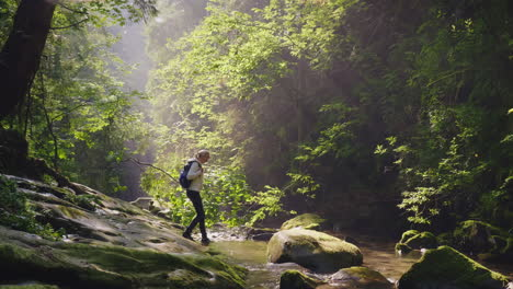 A-Lonely-Woman-Wanders-Through-The-Water-In-The-Forest-Lost-In-The-Woods-Dangerous-Adventures-The-Ra