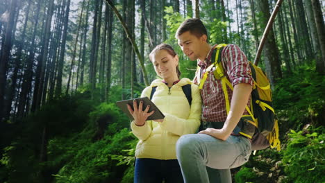 A-Couple-Of-Tourists-With-Backpacks-Orient-Themselves-In-The-Forest-Use-A-Tablet-The-Beautiful-Rays-