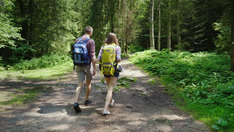 Young-Attractive-Couple-Is-Walking-In-The-Forest-Hiking-And-Active-Lifestyle