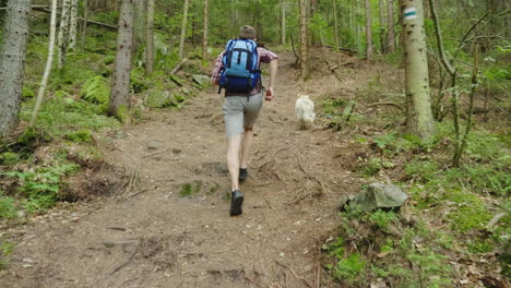 In-A-Hike-With-Your-Favorite-Dog-A-Man-With-A-Backpack-Runs-After-His-Pet-On-A-Forest-Path