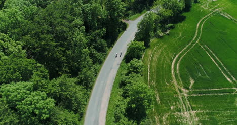 Two-Cyclist-Riding-Bycicle-Aerial-View